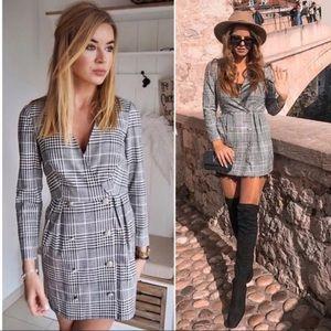 Zara gray plaid double breasted blazer dress